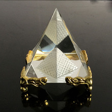 Egypt Crystal Glass Hollow Pyramid Metal Base Paperweight Fengshui Figurine Wicca Crafts Home Wedding Office Decor Ornaments