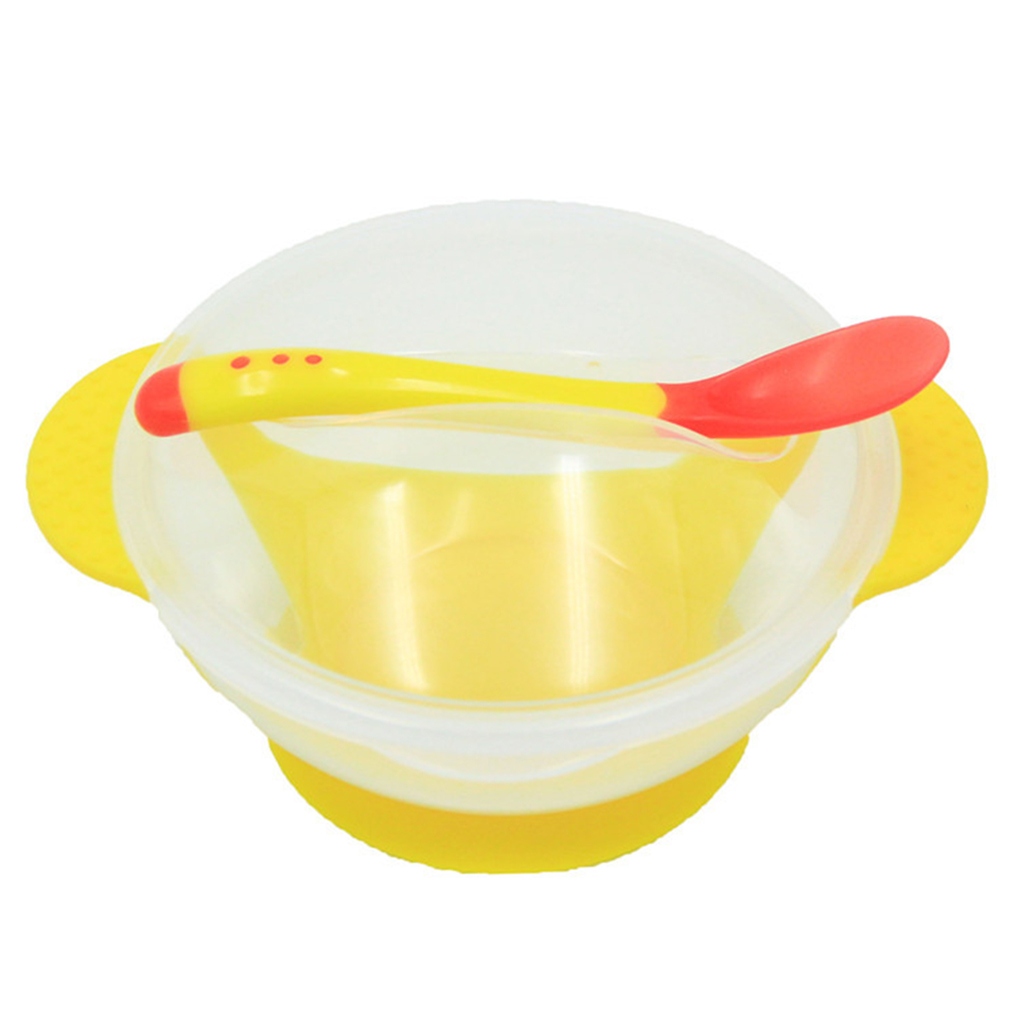 Baby Feeding Tableware Children Plate Sucker Bowl Toddler Baby Kids Child Feeding Lid Training Bowl with Spoon Learnning Dishes cute bear bowl with lid