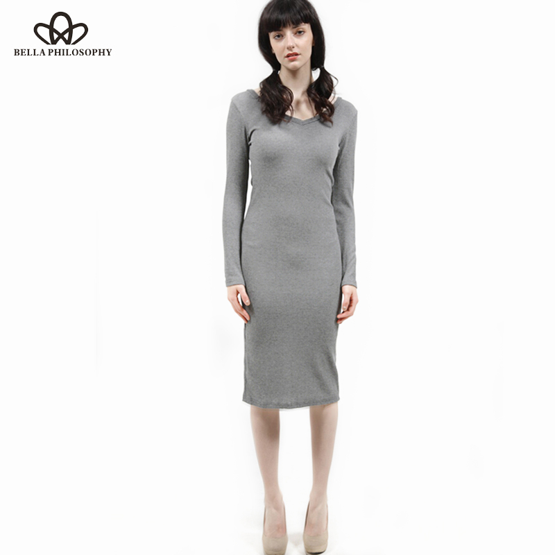 Fall Winter Women Stretchy Knitted Sweater Dresses V Neck Ruched Long Sleeve Skinny Split Pencil Dress Red Navy Blue Gray игрушка ecx ruckus gray blue ecx00013t1