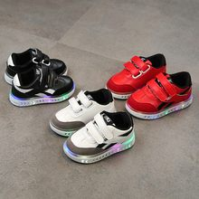 Kids Toddler Led Usb Charging Glowing Sneakers Children Hook Loop Fashion Luminous Shoes For Girls Boys Children's Shoes(China)