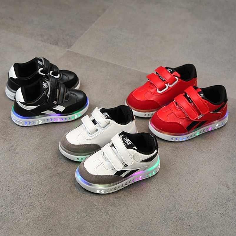 เด็ก Led Charging Glowing รองเท้าผ้าใบเด็กห่วงแฟชั่นรองเท้าส่องสว่างสำหรับสาวรองเท้าเด็ก