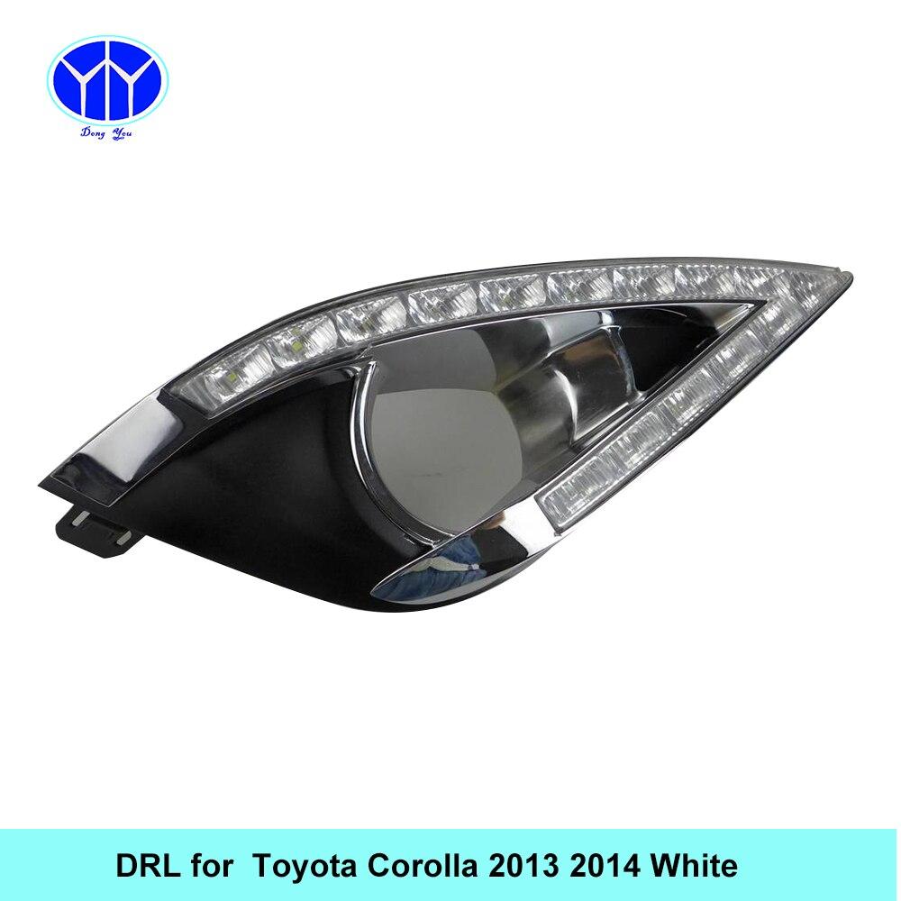Car DRL kit for Toyota Corolla 2013 2014 LED Daytime Running Light Bar Super bright fog lamp bulb daylight car led drl light 12V
