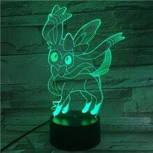 Pokemon Go Sylveon Figure Baby Nightlight LED Touch Sensor Battery Night Light Holiday Gift Atmosphere Usb Led Lamp 3d