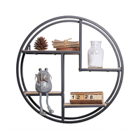 Wall Mounted Iron Shelf Round Floating Shelf Wall Storage Holder Rack Art Wall Shelf Combination Wall Hanging Geometric Figure