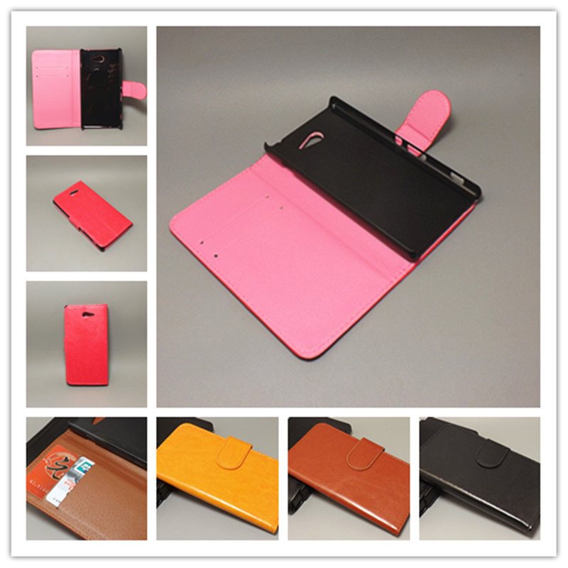 Crazy horse wallet case hold two Cards with 2 Card Holder and pouch slot for SONY Xperia M2 S50h D2302 D2305