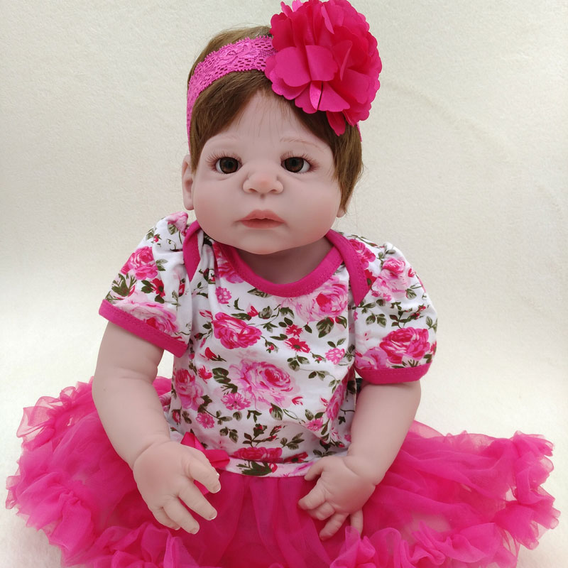 22inch BeBe Reborn Girl Dolls 55cm Soft Full Silicone Reborn Doll Toys Lifelike Newborn Realista Doll  With Bottle NEW new style girl dolls full silicone reborn dolls with beautiful dress adora dolls bebe reborn de silicone menica