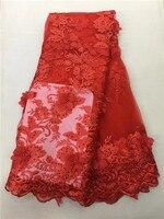 Kết Hợp màu đỏ 5 bãi 3D Flowers Tulle ren Phi vải ren pháp phù hợp với sequins đính cườm nhung Turban trắng đen