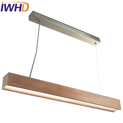 IWHD Nordic Style Wood LED Pendant Light Fixtures Living Room Modern Hanging Lights Strip Lampara Cuboid Home Lighting Fixtures women sandals 2017 summer shoes woman flips flops gladiator wedges bohemia fashion rivet platform female ladies casual shoes
