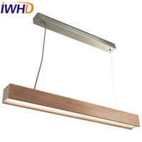 IWHD Nordic Style Wood LED Pendant Light Fixtures Living Room Modern Hanging Lights Strip Lampara Cuboid