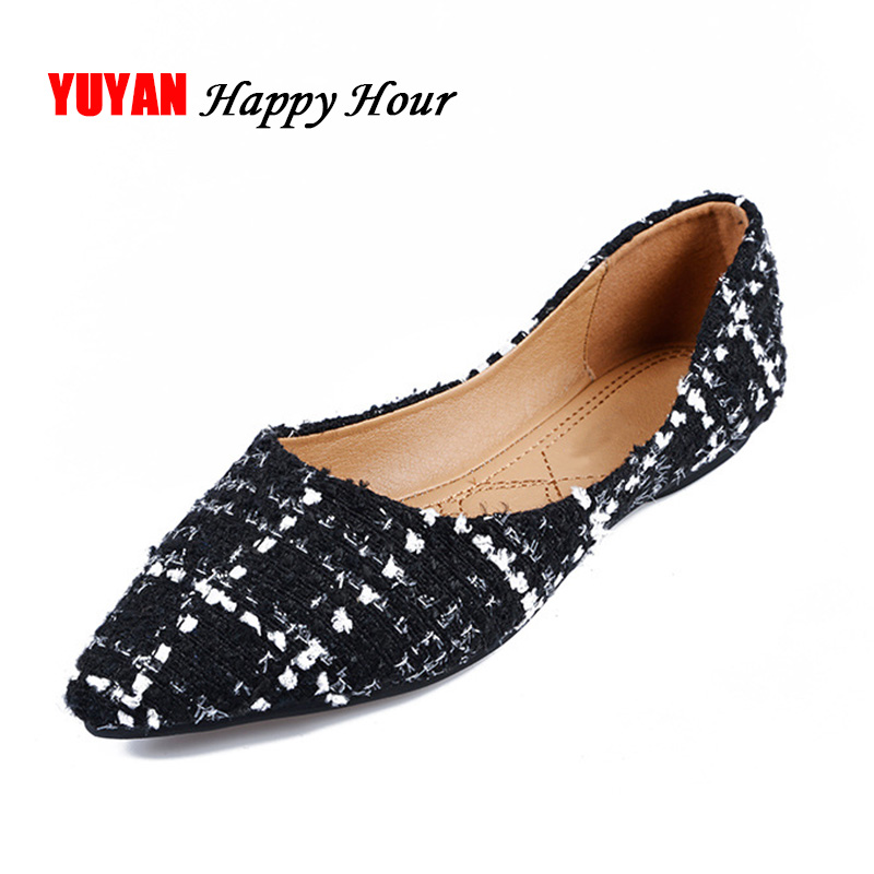 Fashion Flats for Women Pointed toe Casual Shoes Office Ladies Single Shoes Plus Size Women's Flats A076 odetina 2017 new women pointed metal toe loafers women ballerina flats black ladies slip on flats plus size spring casual shoes
