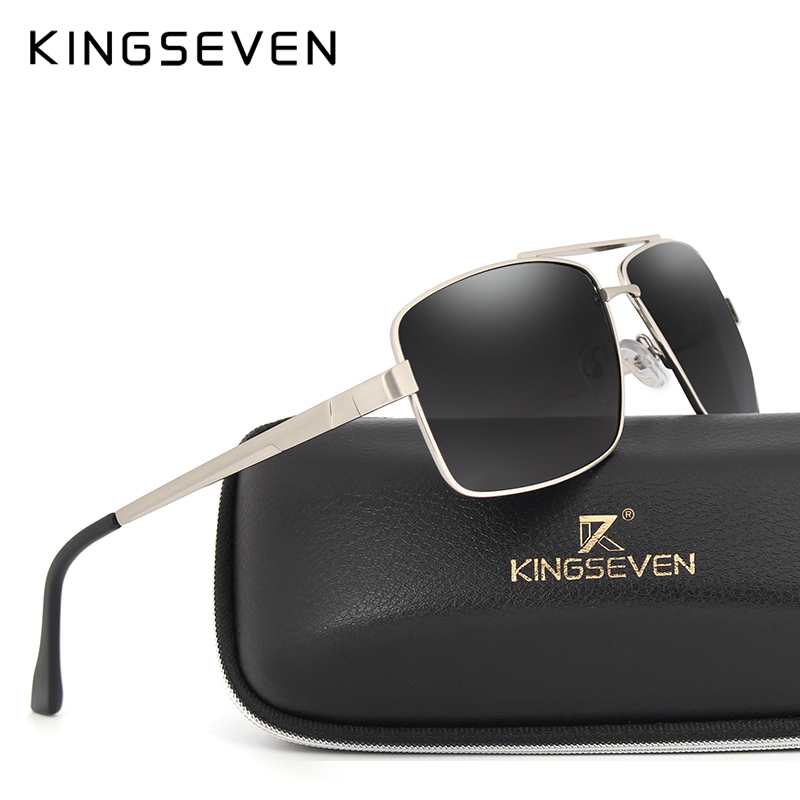 KINGSEVEN 2017 Rectangulaire barres parallèles lunettes de Soleil de conception Hommes classique lunettes Polaroid lunettes de soleil De Luxe lentilles UV400