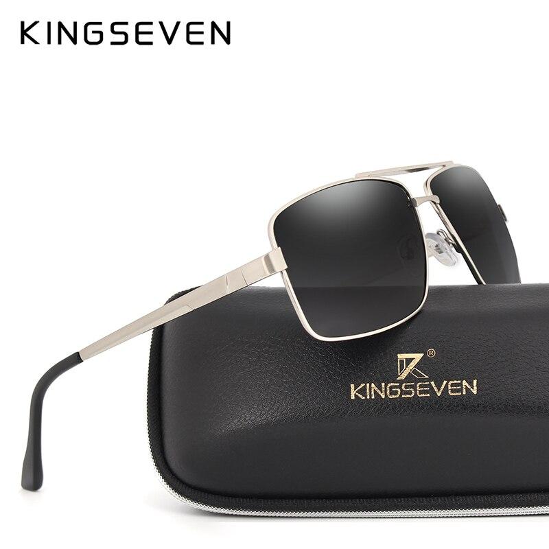 KINGSEVEN 2017 Rectangular parallel bars Sunglasses design Men's classic glasses Polaroid sunglasses Luxury lenses UV400