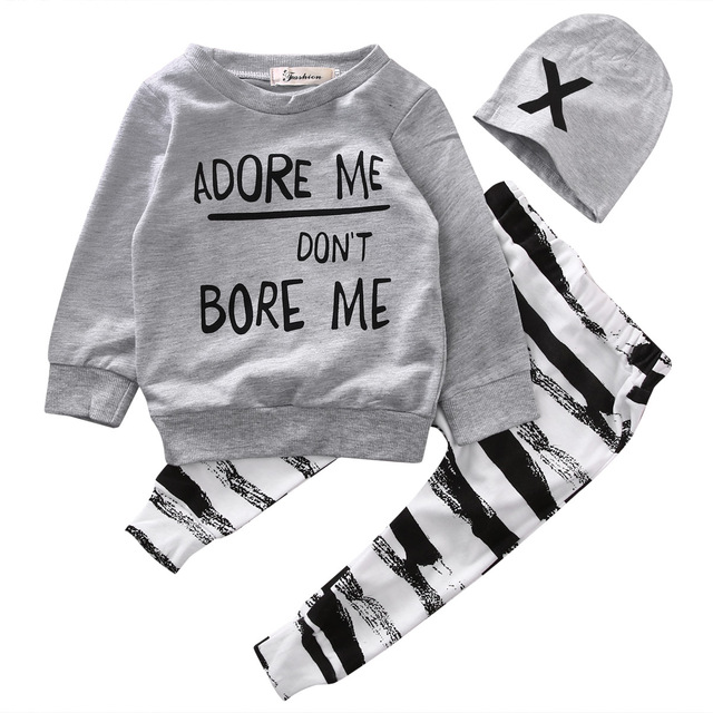 2f917e4f1 Newborn Baby Boy Girls Clothes Set Long Sleeve Tops Warm Long Pants Hat  3PCS Baby Boys Outfits Set Clothes
