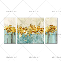 Thick Textured 100% Hand painted Modern Abstract Oil Painting On Canvas Wall Art 3 Panels Golden Tree Leaf Painting Home Gift
