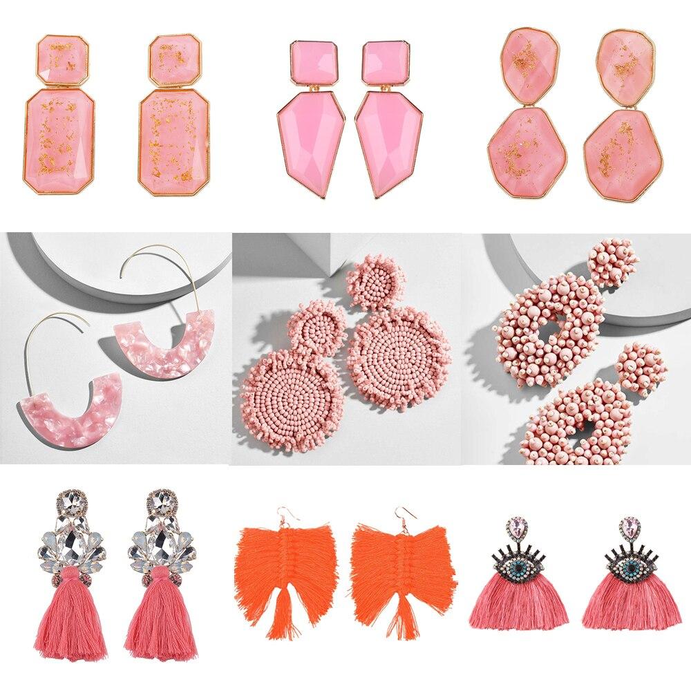 Best Lady Fashion Orange Pink Resin Beaded Drop Earrings for Women Girls ZA Wedding Jewelry 26 Designs Dangle Statement Earrings-in Drop Earrings from Jewelry & Accessories on Aliexpress.com | Alibaba Group