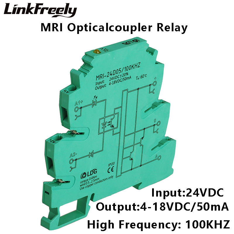 цена на MRI-24D05 2pcs 100KHZ PLC LED Optical Coupler Relay 24VDC 8mA Input Output 4-18VDC 50mA Interface Voltage Relay Module DIN Rail