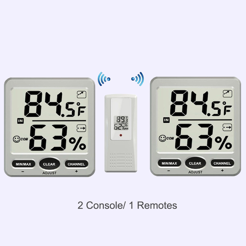 8-Channel Wireless Thermo-Hygrometer 2 Console with 1 Remote Indoor Outdoor Digital Weather Station 1 to 1 wireless digital thermo hygrometer console receiver remote sensor emitter thermometer humidometer drying rooms