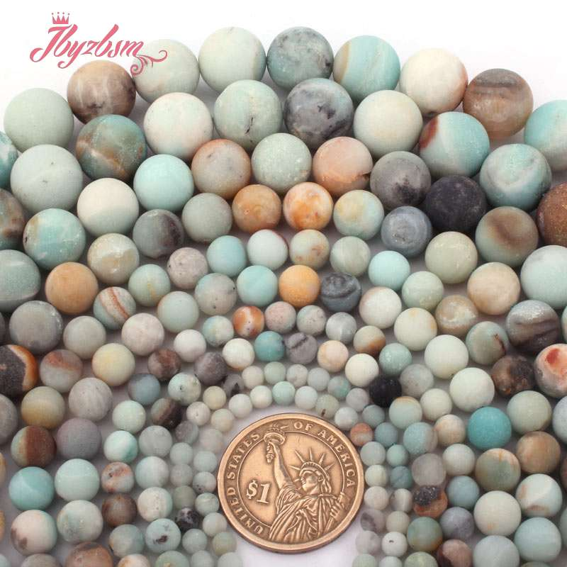 4,6, 8,10mm Multicolor Frost Putaran Amazonite Bead Batu Alam Beads - Perhiasan fashion - Foto 3