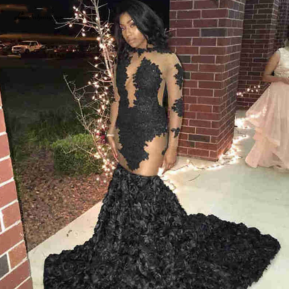 Lakshmigown Sexy Black Girls Little Mermaid Evening Dress 2019 Robe Longue Vintage Lace Long Sleeve Prom Dresses Party Gowns(China)
