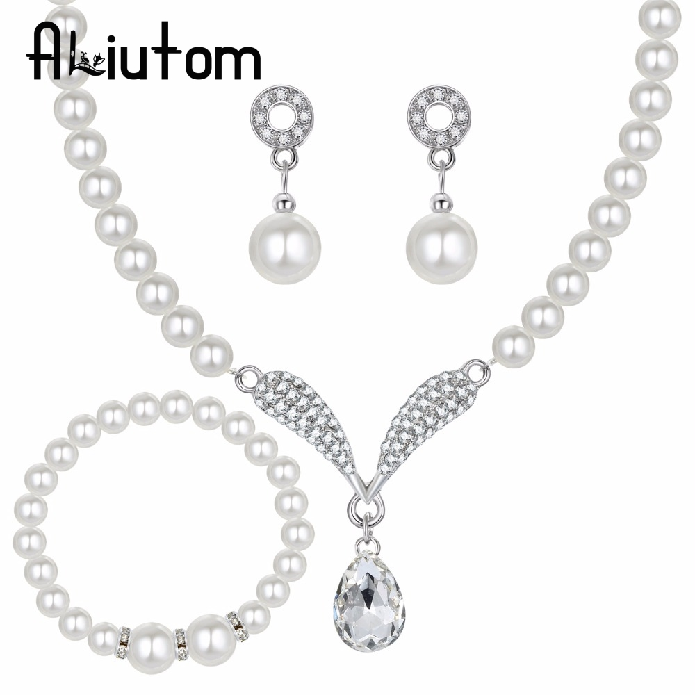 ALIUTOM Simulation Pearl Crystal Silver Jewelry Set Necklace Earring Bracelet Drop Lady Wedding Party Gift Jewelry 2018