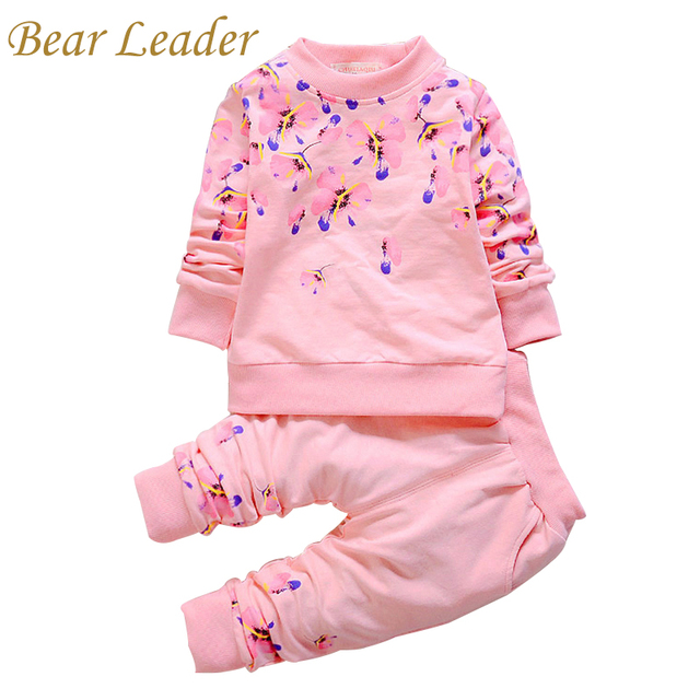 Bear Leader Autumn Girls Clothes Baby Girl Clothing Sets Flower Bow Cute Suit Kids Long Sleeve Top T-Shirt +Pants 2Pcs