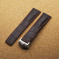 22mm Strap Black Alligtor Grain Calf Leather Watch Band Red Stitch Steel Deployment Buckle Clasp Watchband for Tagwatch Hours