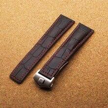 22mm Correa Negro Alligtor Grano Becerro Hebilla de Implementación de Cierre Venda de reloj de Acero Correa de Reloj de Cuero Rojo de la Puntada para Tagwatch Horas