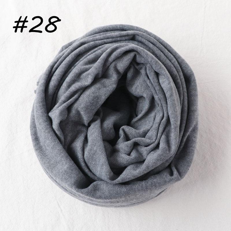 Один кусок Хиджаб Женский вискозный Джерси-шарф Мусульманский Исламский сплошной простой Джерси хиджабы Макси шарфы мягкие шали 70x160 см - Цвет: 28 dark gray