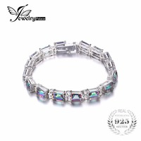 Classic 27 36ct Genuine Rainbow Fire Mystic Topaz Emerald Cut Solid 925 Sterling Silver Tennis Bracelet