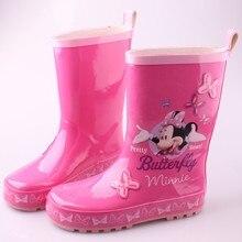 2017 новое прибытие детская дождь сапоги резиновые сапоги розовый Минни девушки размер обуви 23-36