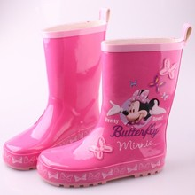 2017 new arrival Children's rain boots wellies pink Minnie girls shoes size 23-36