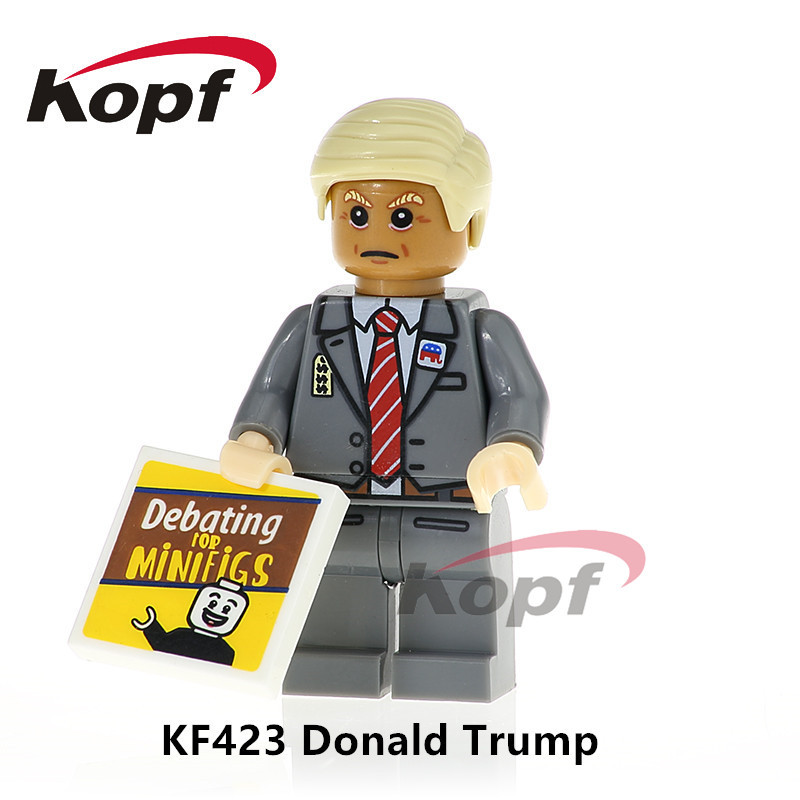 Super Heroes Single Sale Donald Trump Hillary Clinton Bricks Action Figures Building Blocks Education Toys for children KF423 single sale building blocks super heroes bob ross american painter the joy of painting bricks education toys children gift kf982