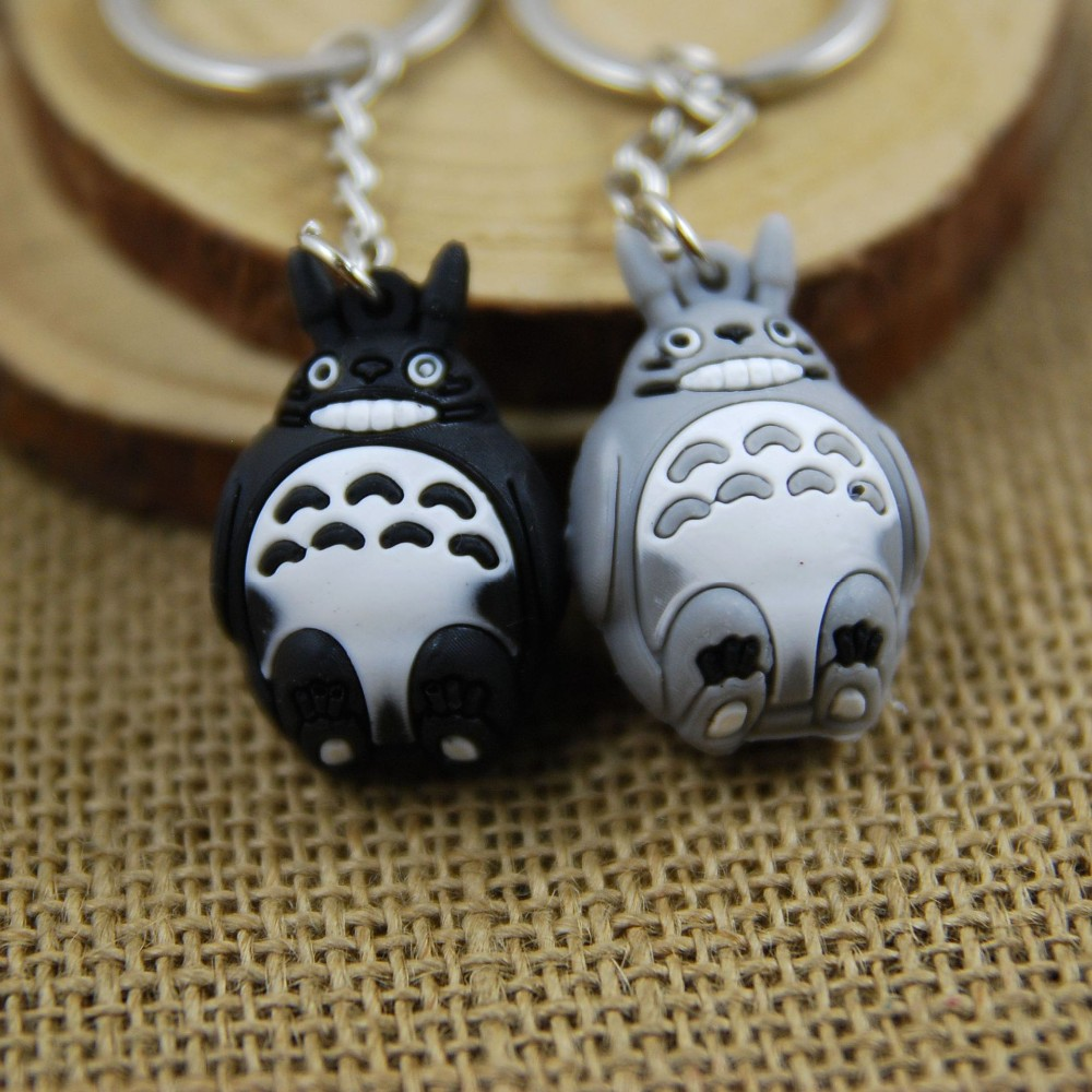 3D Totoro Keychain Cute Key Ring For Women PVC Anime Key Chain Key Holder Creative Portachiavi Chaveiro Llaveros Bag Charm