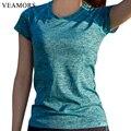 VEAMORS Женщин Yoga Рубашки для Фитнеса Бег Спорт Майка, центр Quick Dry Пот Дышащий Упражнения С Коротким Рукавом Топы