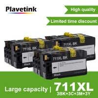 Colorsun 4PCS For HP 711 Refillable Ink Cartridge for HP711 DesignJet T520  T120 Printer For HP T120 T520 Printer Empty Cartridge