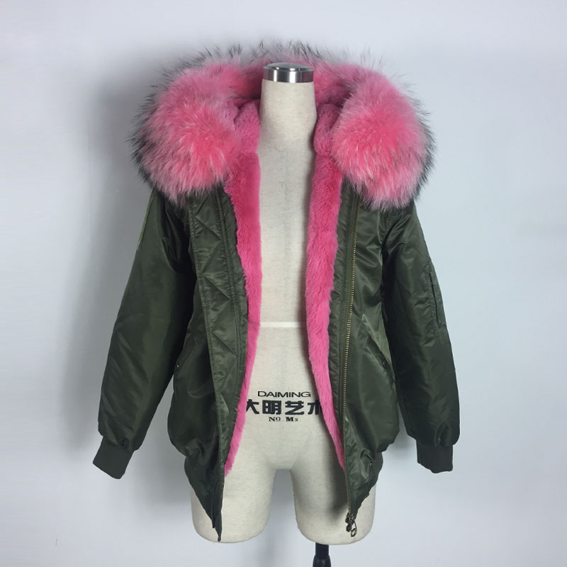 Water Proof Bombers Pink Faux Fur Winter And Spring Bomber Jacket For Lady