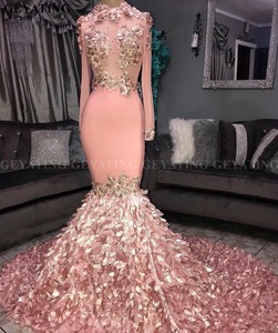 Elegant Long Sleeves 3D Floral Mermaid Pink Prom Dresses Black Girls Court Train Plus Size African Graduation Dress Evening Gown(China)