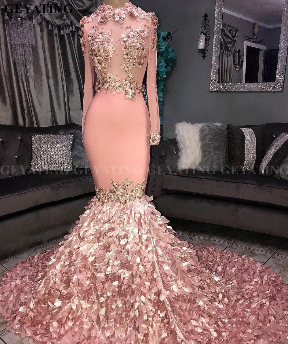 Elegant Long Sleeves 3D Floral Mermaid Pink   Prom     Dresses   Black Girls Court Train Plus Size African Graduation   Dress   Evening Gown