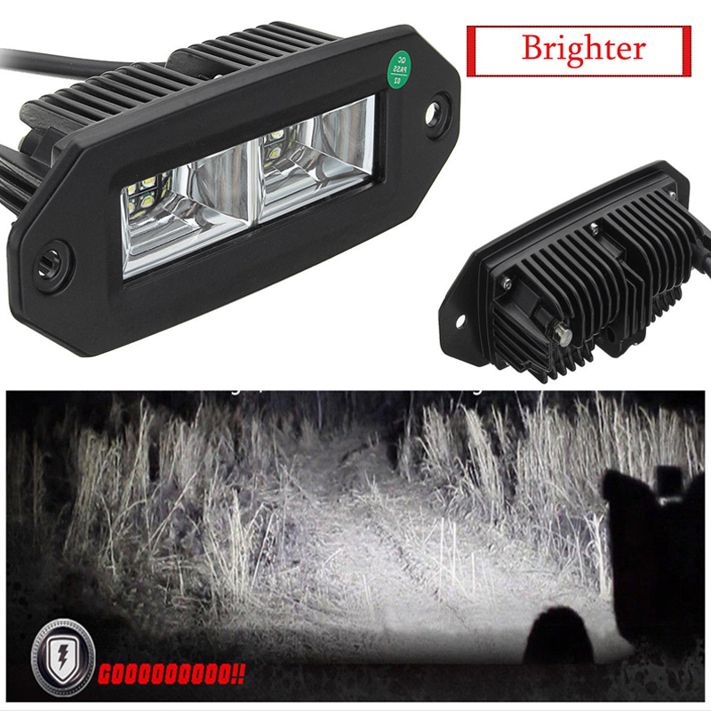40W LED Offroad Work Light Bar Flush Mount Flood For Off Road Jeep SUV ATV Pickup Boats