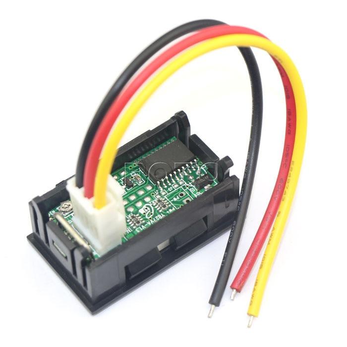 20pcs/lots DC Volt Amp Panel Meter 2in1 3 Wires 4.5 30V/50A Red LED on