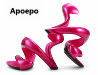 Apoepo New Arrival Stylish High Heels Women Unique Style Sandals Sexy Strange Heel wedding Dress Shoes Celebrity in Same Heels