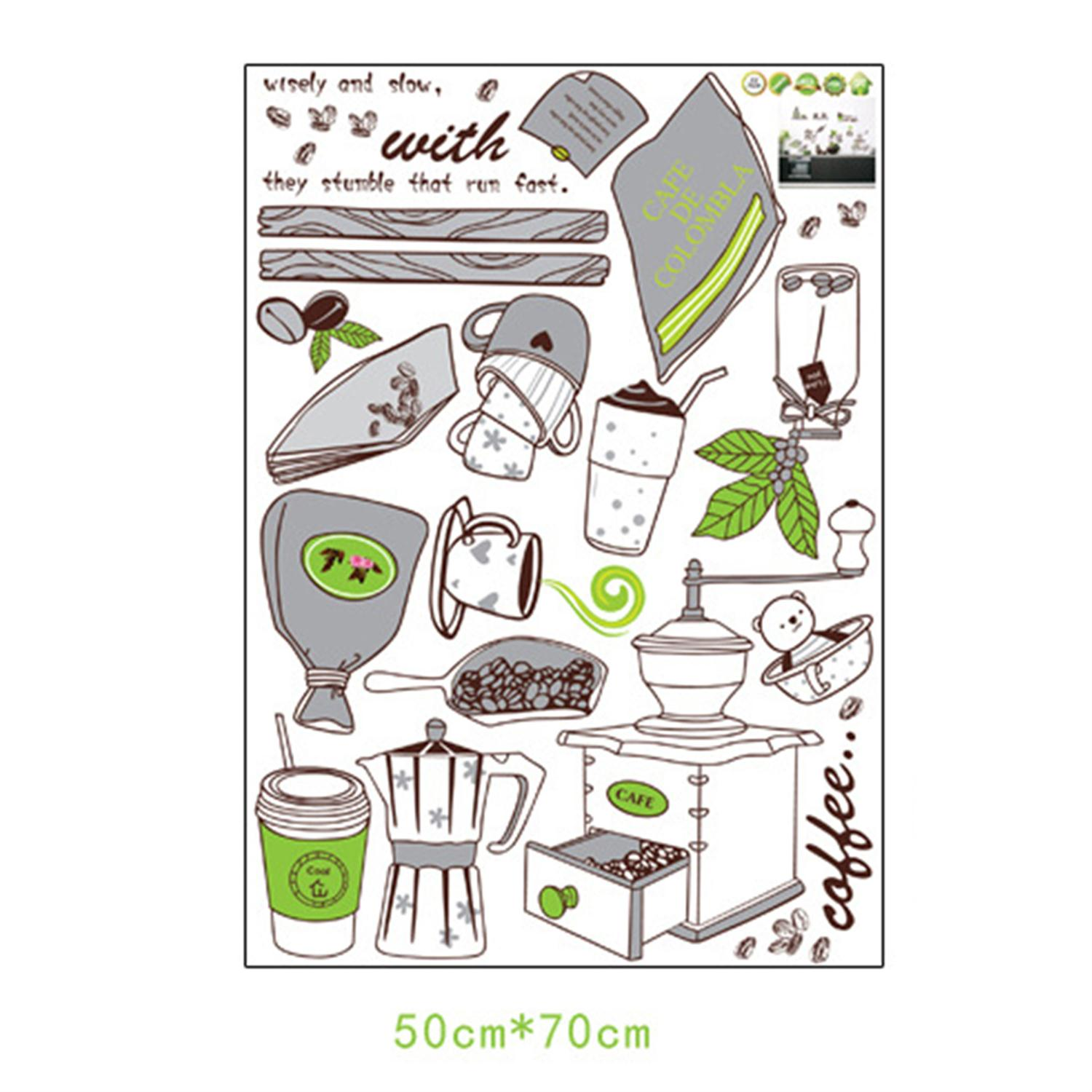 Poster design tools -  2016 Fashion Creative Design Making Coffee Tools Home Kitchen Wall Background Stickers Home Decoration Wallpaper Poster