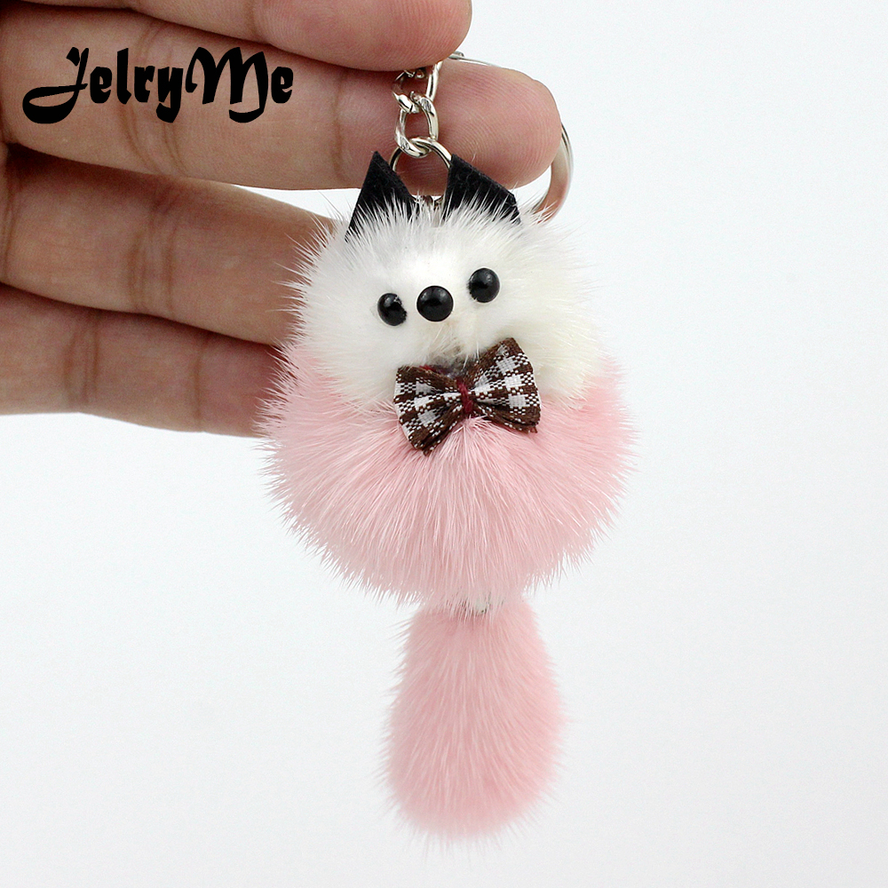 Charms Fluffy Bow Fox Key Chains Pendant Natural Real Mink Fur Cute Keychain Pom Pom Car Keyring Women Bags Backpack Accessories