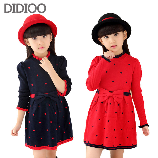 Girls Spring & Autumn Sweaters Fashion Sweet Soft Woolen Bow Dress For Girls Children Clothing Dresses