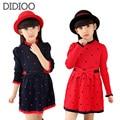 Meninas Primavera & Outono Camisolas Moda Doce Bow Vestido Para Crianças Meninas Vestidos de Roupas De Lã Macia