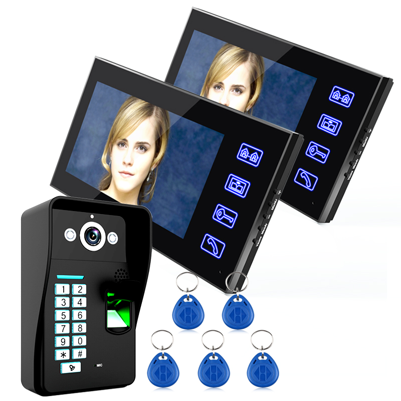Touch Key 7 Lcd Fingerprint Video Door Phone Intercom System Wth fingerprint access control 1 Camera +2Monitor Finger Print biometric face and fingerprint access controller tcp ip zk multibio700 facial time attendance and door security control system