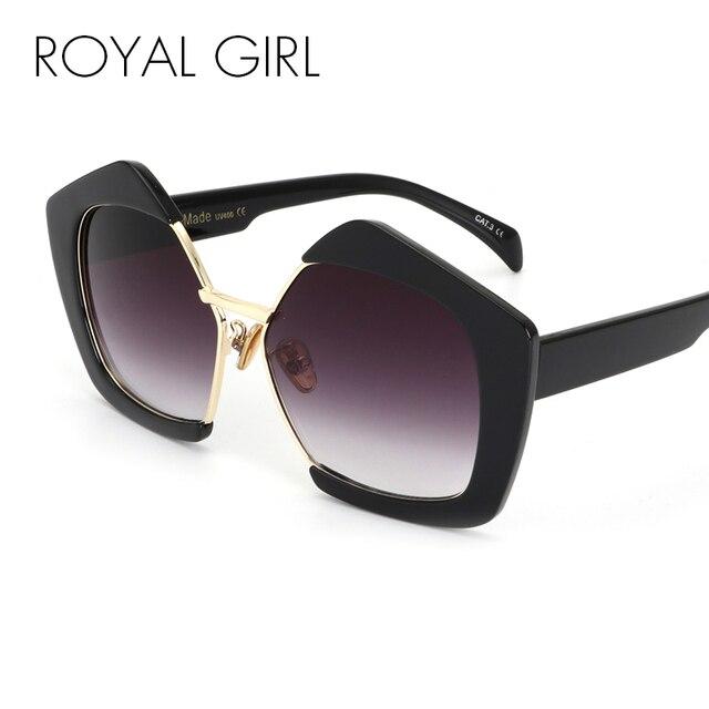 b880e4d54e1c2 MENINA REAL Moda de Luxo Da Marca Pentágono Personalidade Metade Quadro  Óculos de Sol Óculos De