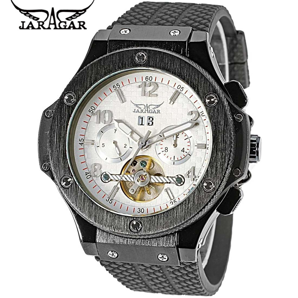 2017 JARAGAR Luxury Relogio Masculino Men's Flywheel Day/Week Auto Mechanical Watches Wristwatches Gift Box Free Ship 2016 luxury relogio masculino day week month tourbillon auto mechanical watch wristwatch valentine s day gifts box free ship