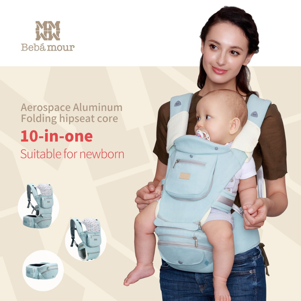 Bebamour Baby Hipseat 10 in one Baby Sling 360 Ergonomic Foldable Hip Seat Multifunctional Babies Carrier for Newborns