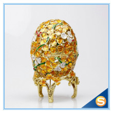 Easter Gift Faberge Egg Platinum Colored Czech Crystals Easter Trinket Box
